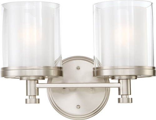 NUVO Lighting 60/4642 Decker 2 Light Vanity Fixture with Clear & Frosted Glass