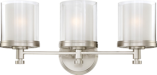 NUVO Lighting 60/4643 Decker 3 Light Vanity Fixture with Clear & Frosted Glass