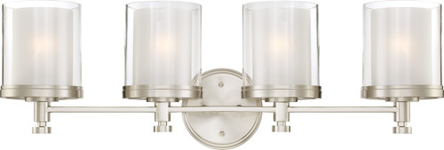 NUVO Lighting 60/4644 Decker 4 Light Vanity Fixture with Clear & Frosted Glass