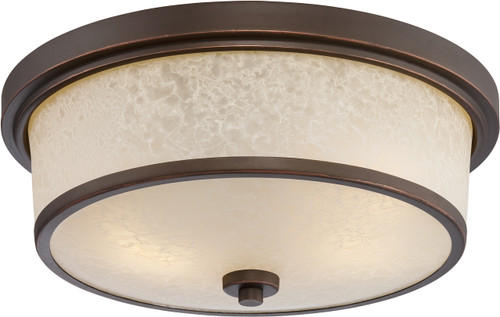 NUVO Lighting 62/643 Diego LED Outdoor Flushmount Fixture with Satin Amber Glass