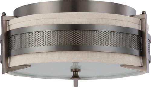 NUVO Lighting 60/4436 Diesel 3 Light Medium Flushmount with Khaki Fabric Shade