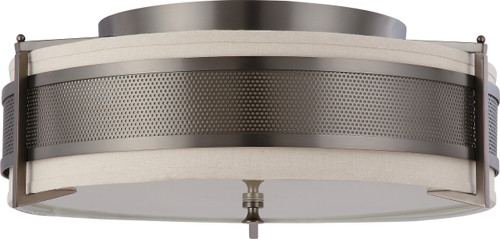 NUVO Lighting 60/4437 Diesel 4 Light Large Flushmount with Khaki Fabric Shade