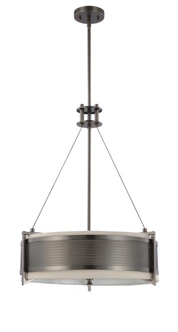 NUVO Lighting 60/4433 Diesel 4 Light Round Pendant with Khaki Fabric Shade