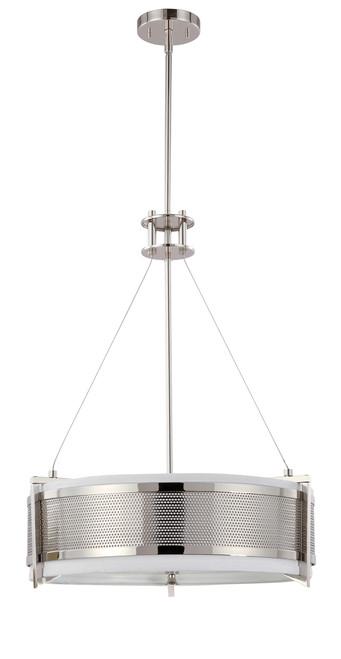 NUVO Lighting 60/4443 Diesel 4 Light Round Pendant with Slate Gray Fabric Shade