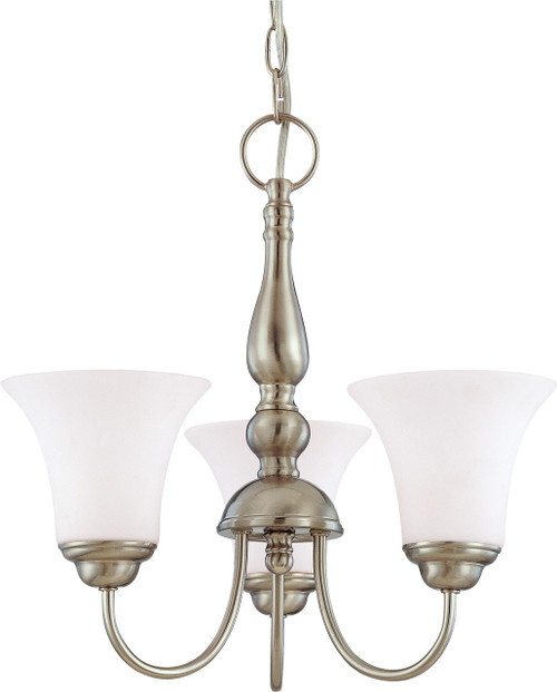 """NUVO Lighting 60/1821 Dupont 3 light 16"""" Chandelier with Satin White Glass"""