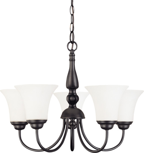 """NUVO Lighting 60/1842 Dupont 5 light 21"""" Chandelier with Satin White Glass"""