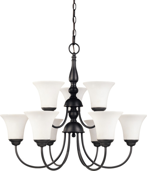 """NUVO Lighting 60/1843 Dupont 9 light 2 Tier 27"""" Chandelier with Satin White Glass"""
