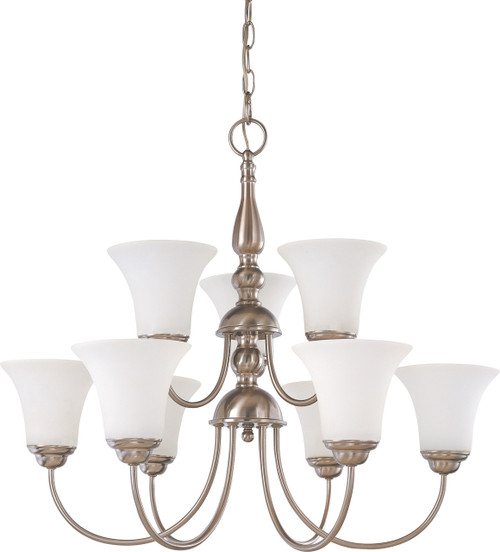 """NUVO Lighting 60/1823 Dupont 9 light 2 Tier 27"""" Chandelier with Satin White Glass"""