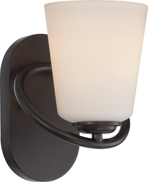 NUVO Lighting 62/416 Dylan 1 Light Vanity Fixture with Satin White Glass (LED Omni Bulb Included)