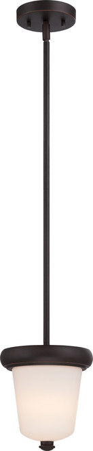 NUVO Lighting 62/412 Dylan 1 Light Mini Pendant with Etched Opal Glass (LED Omni Bulb Included)