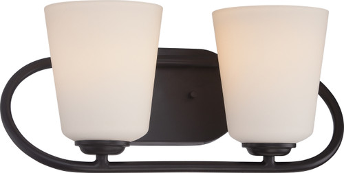 NUVO Lighting 62/417 Dylan 2 Light Vanity Fixture with Satin White Glass (LED Omni Bulbs Included)