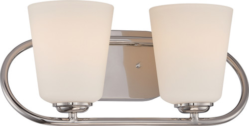 NUVO Lighting 62/407 Dylan 2 Light Vanity Fixture with Satin White Glass (LED Omni Bulbs Included)