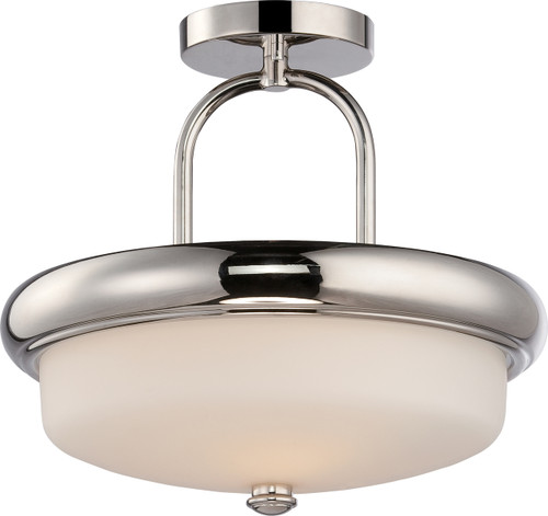 NUVO Lighting 62/404 Dylan 2 Light Semi Flushmount with Etched Opal Glass (LED Omni Bulbs Included)