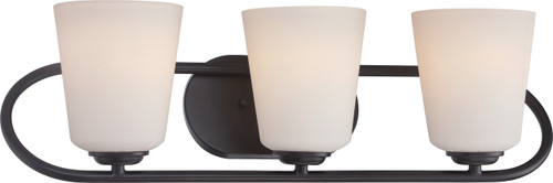 NUVO Lighting 62/418 Dylan 3 Light Vanity Fixture with Satin White Glass (LED Omni Bulbs Included)