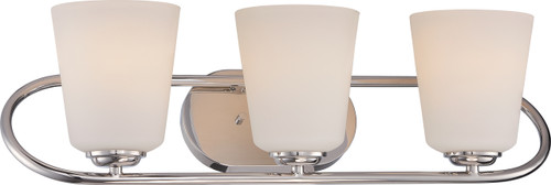 NUVO Lighting 62/408 Dylan 3 Light Vanity Fixture with Satin White Glass (LED Omni Bulbs Included)