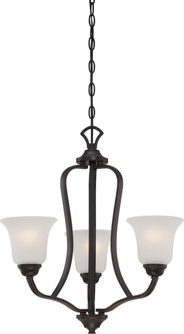 NUVO Lighting 60/5696 Elizabeth 3 Light Chandelier with Frosted Glass