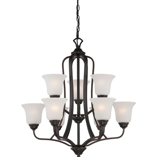 NUVO Lighting 60/5699 Elizabeth 9 Light 2 Tier Chandelier with Frosted Glass