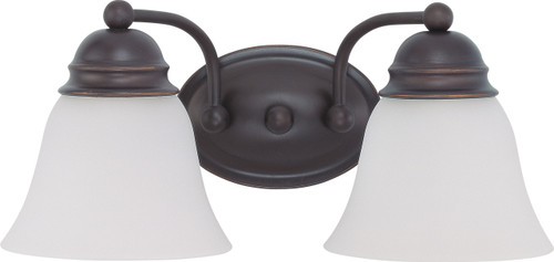 """NUVO Lighting 60/3166 Empire 2 Light 15"""" Vanity with Frosted White Glass"""