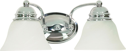 """NUVO Lighting 60/337 Empire 2 Light 15"""" Vanity with Alabaster Glass Bell Shades"""