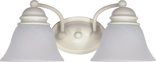 """NUVO Lighting 60/353 Empire 2 Light 15"""" Vanity with Alabaster Glass Bell Shades"""