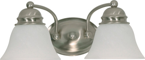 """NUVO Lighting 60/341 Empire 2 Light 15"""" Vanity with Alabaster Glass Bell Shades"""