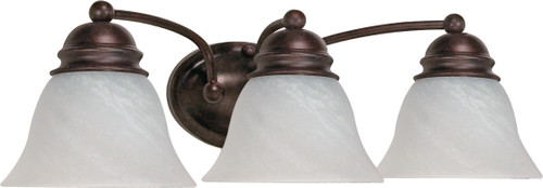 """NUVO Lighting 60/346 Empire 3 Light 21"""" Vanity with Alabaster Glass Bell Shades"""