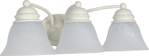 """NUVO Lighting 60/354 Empire 3 Light 21"""" Vanity with Alabaster Glass Bell Shades"""