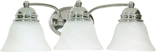 """NUVO Lighting 60/338 Empire 3 Light 21"""" Vanity with Alabaster Glass Bell Shades"""