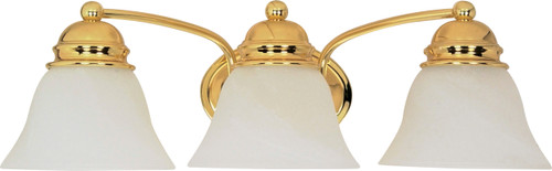 """NUVO Lighting 60/350 Empire 3 Light 21"""" Vanity with Alabaster Glass Bell Shades"""