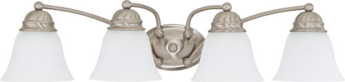 """NUVO Lighting 60/3277 Empire 4 Light 29"""" Vanity with Frosted White Glass"""