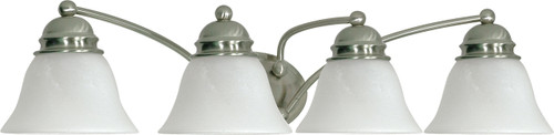 """NUVO Lighting 60/343 Empire 4 Light 29"""" Vanity with Alabaster Glass Bell Shades"""