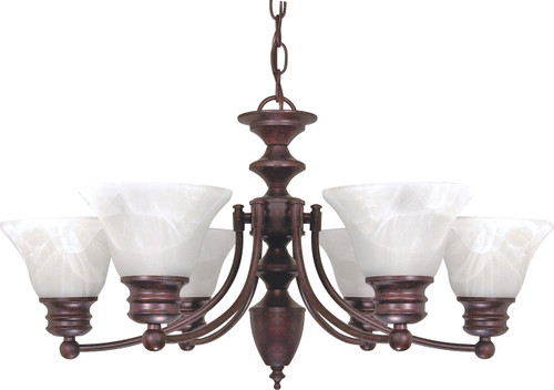 """NUVO Lighting 60/358 Empire 6 Light 26"""" Chandelier with Alabaster Glass Bell Shades"""