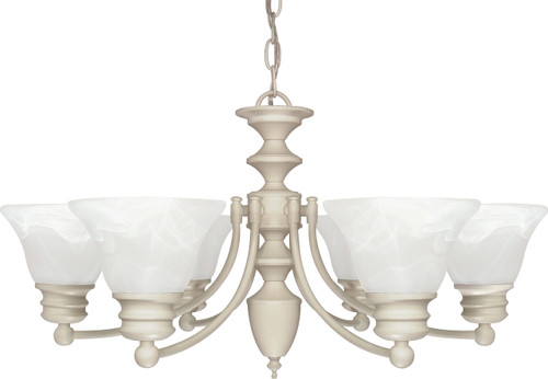 """NUVO Lighting 60/359 Empire 6 Light 26"""" Chandelier with Alabaster Glass Bell Shades"""