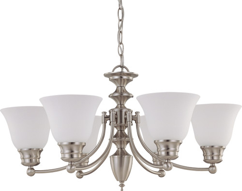 """NUVO Lighting 60/3255 Empire 6 Light 26"""" Chandelier with Frosted White Glass"""