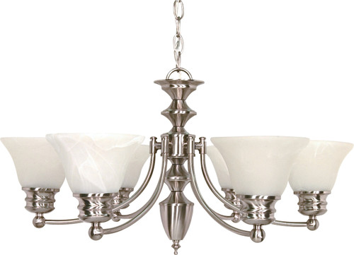 """NUVO Lighting 60/356 Empire 6 Light 26"""" Chandelier with Alabaster Glass Bell Shades"""
