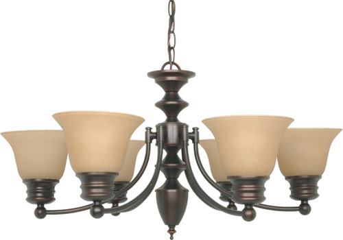 """NUVO Lighting 60/1274 Empire 6 Light 26"""" Chandelier with Champagne Linen Washed Glass"""