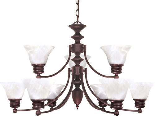 """NUVO Lighting 60/362 Empire 9 Light 32"""" Chandelier with Alabaster Glass Bell Shades, 2 Tier"""