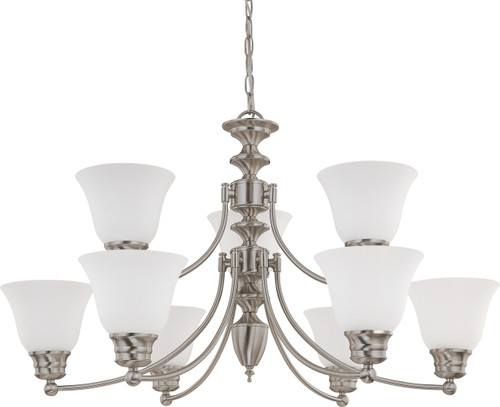 """NUVO Lighting 60/3256 Empire 9 Light 32"""" Chandelier with Frosted White Glass"""