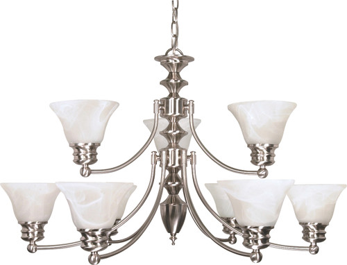 """NUVO Lighting 60/360 Empire 9 Light 32"""" Chandelier with Alabaster Glass Bell Shades, 2 Tier"""