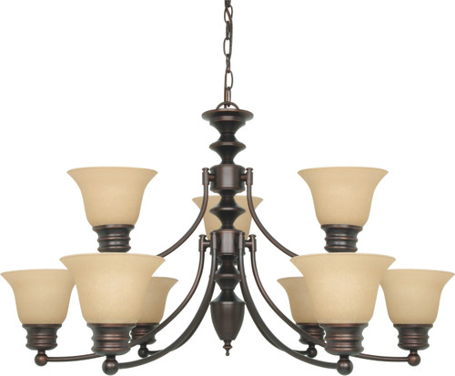 """NUVO Lighting 60/1275 Empire 9 Light 32"""" Chandelier with Champagne Linen Washed Glass"""