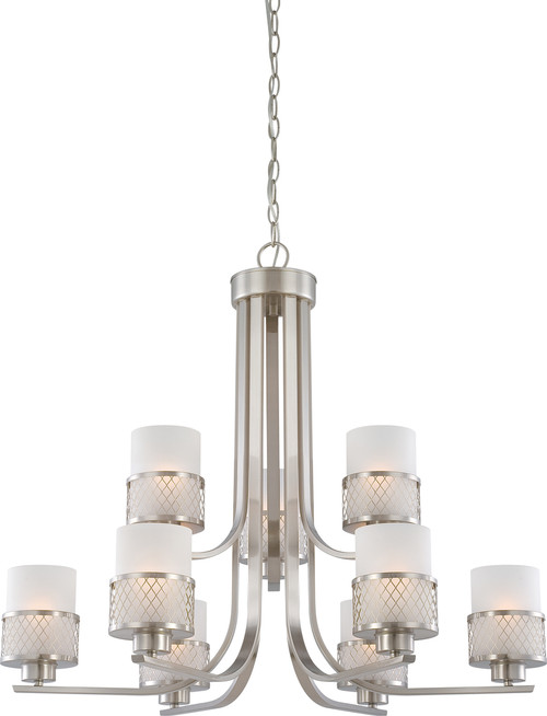 NUVO Lighting 60/4689 Fusion 9 Light Chandelier with Frosted Glass