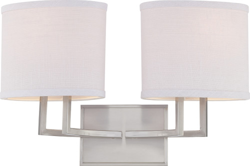 NUVO Lighting 60/4752 Gemini 2 Light Vanity Fixture with Slate Gray Fabric Shades