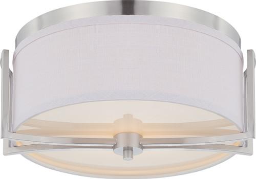 NUVO Lighting 60/4761 Gemini 2 Light Flushmount Dome Fixture with Slate Gray Fabric Shade