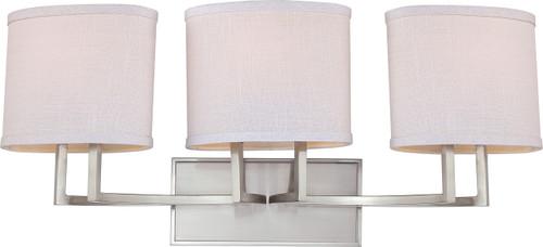 NUVO Lighting 60/4753 Gemini 3 Light Vanity Fixture with Slate Gray Fabric Shades