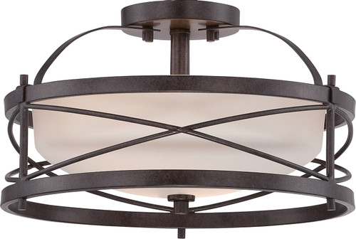 NUVO Lighting 60/5335 Ginger 2 Light Semi Flushmount with Etched Opal Glass