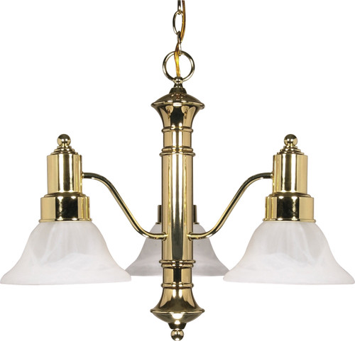 """NUVO Lighting 60/194 Gotham 3 Light 23"""" Chandelier with Alabaster Glass Bell Shades"""