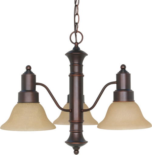 """NUVO Lighting 60/1254 Gotham 3 Light 23"""" Chandelier with Champagne Linen Washed Glass"""