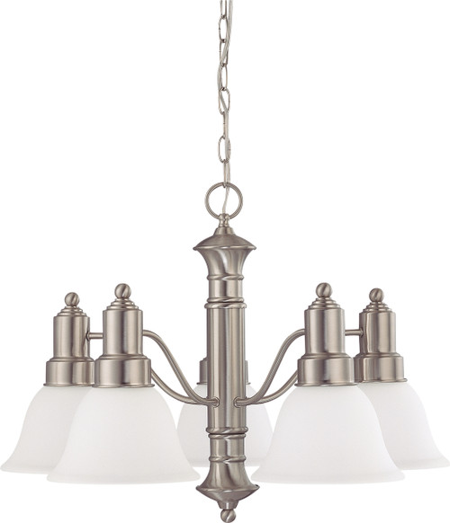 """NUVO Lighting 60/3242 Gotham 5 Light 25"""" Chandelier with Frosted White Glass"""