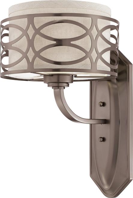 NUVO Lighting 60/4721 Harlow 1 Light Vanity Fixture with Khaki Fabric Shade