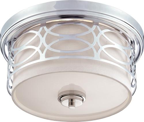 NUVO Lighting 60/4627 Harlow 2 Light Flushmount Dome Fixture with Slate Gray Fabric Shade